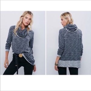 Free People Beach Grey Cowl Neck Sweater Top